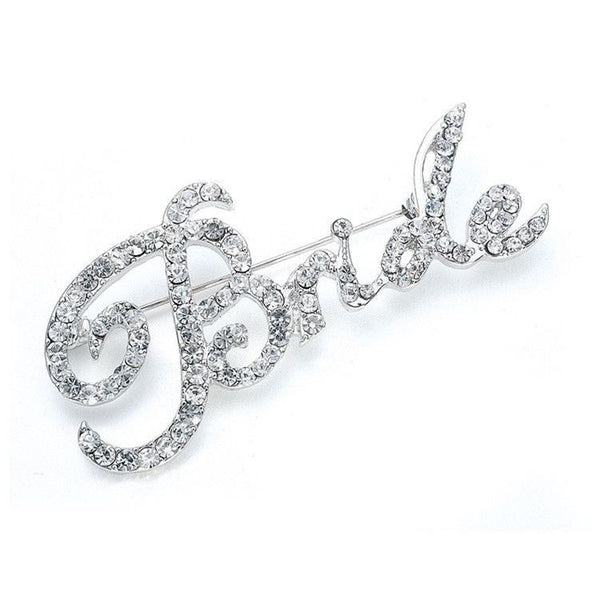 "Crystal ""Bride"" Pin-Brooches-Here Comes The Bling™"