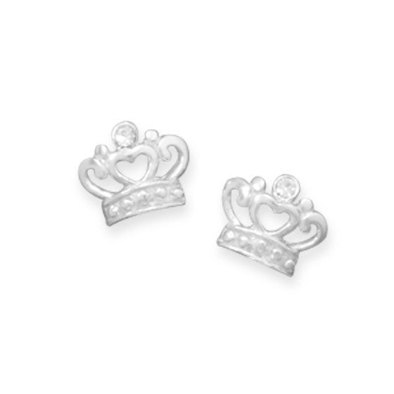 Crystal Crown Stud Earrings-Girls-Jewelry-Here Comes The Bling™