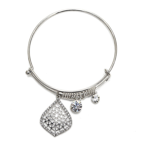 Crystal Filigree Dangle Silver Bangle-Bracelets-Here Comes The Bling™