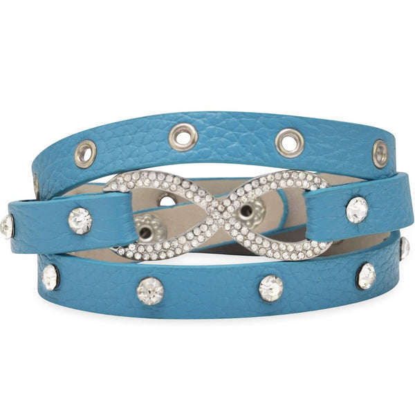 Crystal Infinity Blue Leather Wrap Bracelet-Bracelets-Here Comes The Bling™