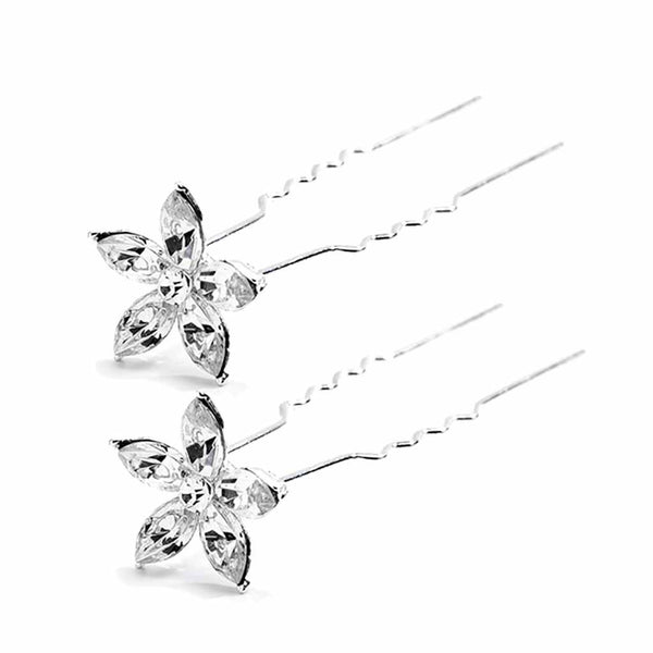 Crystal Marquis Flower Wedding or Prom Hair Stick Pin (Set of 2)-Hair Pins-Here Comes The Bling™