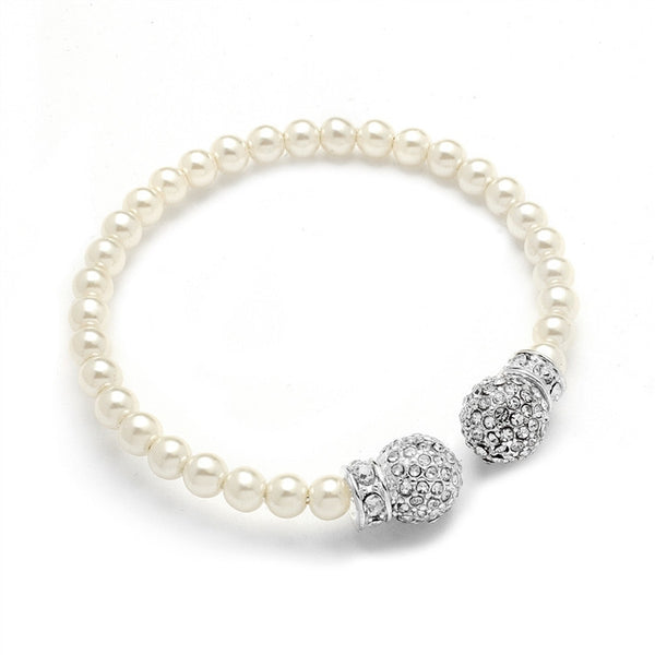 Crystal Pave Accented Pearl Cuff Bracelet-Bracelets-Here Comes The Bling™