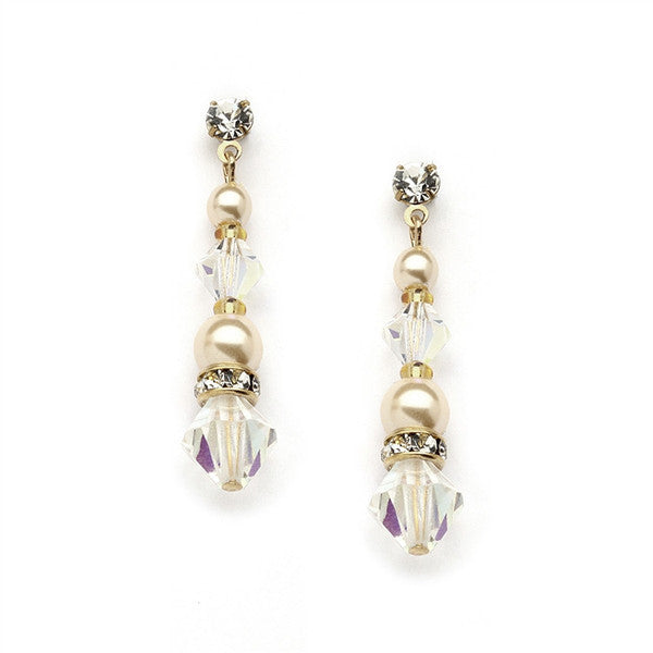 Crystal & Pearl Dangle Bridal Earrings in Gold-Earrings-Here Comes The Bling™