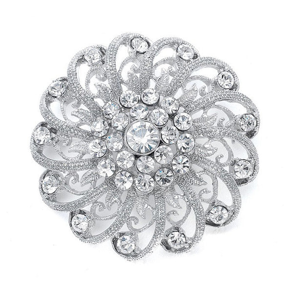 Crystal Pin with Filigree Spirals-Brooches-Here Comes The Bling™