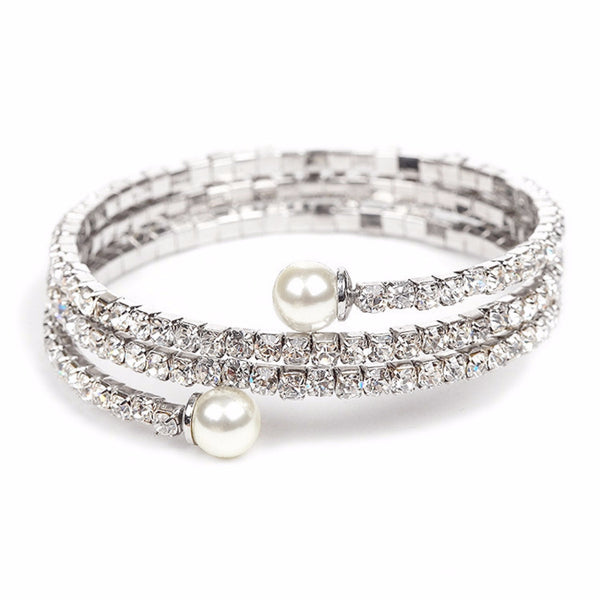 Crystal Rhinestone Coil Bracelet with Pearl Ends-Bracelets-Here Comes The Bling™