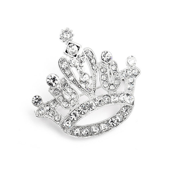 Crystal Rhinestone Crown Pin for Pageant-Brooches-Here Comes The Bling™
