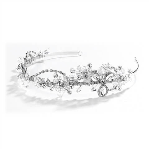 Crystal & Rhinestone Garden Wedding Tiara or Side Design Headband-Headband-Here Comes The Bling™