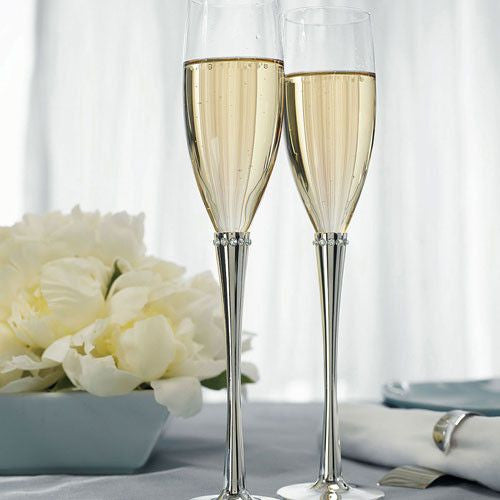 Crystal Ring Wedding Champagne Flutes-Toasting Flutes-Here Comes The Bling™