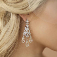 Crystal Teardrop Vintage Chandelier Earrings for Weddings, Proms or Bridesmaid-Earrings-Here Comes The Bling™