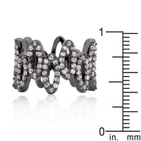 Cubic Zirconia and Hematite Oval Fashion Ring-Rings-Here Comes The Bling䋢
