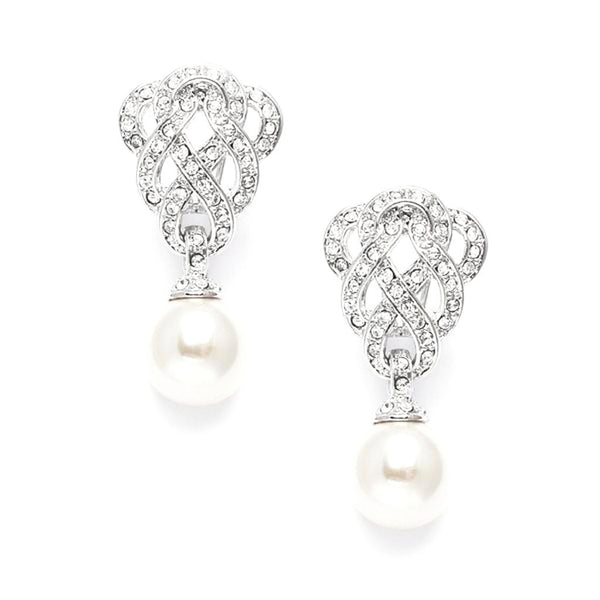 Cubic Zirconia Braided Clip-On Earrings with Pearl Drops-Earrings-Here Comes The Bling™
