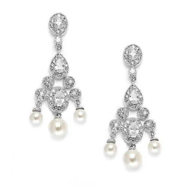 Cubic Zirconia Bridal Chandelier with Pearl Drops-Earrings-Here Comes The Bling™