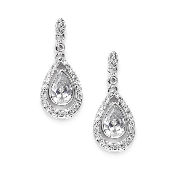 Cubic Zirconia Bridal Earrings with Pear Teardrops-Earrings-Here Comes The Bling™