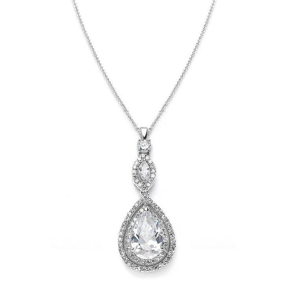 Cubic Zirconia Bridal Necklace Pendant with Framed Pear-Necklaces-Here Comes The Bling™