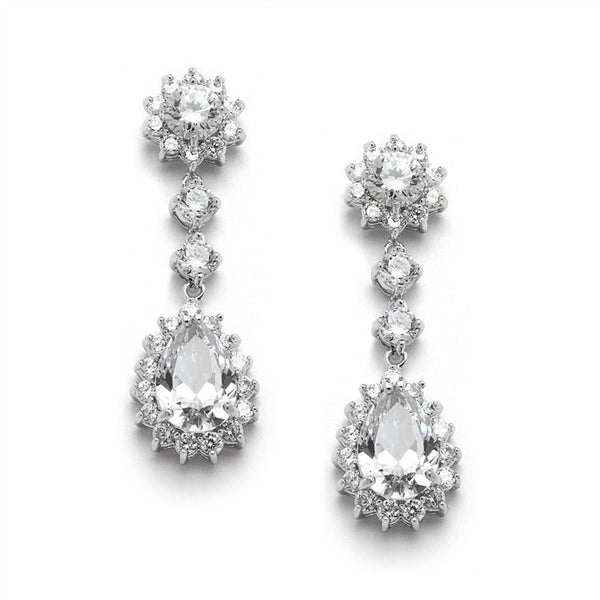 Cubic Zirconia Bridal or Bridesmaids Dangle Earrings with CZ Jeweled Frame-Earrings-Here Comes The Bling™