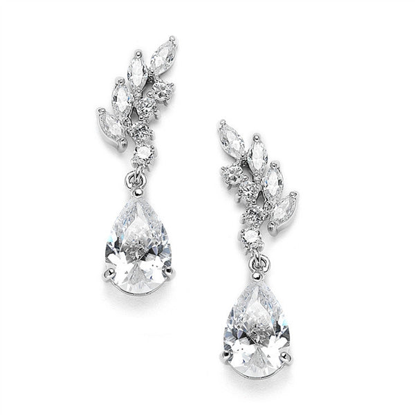 Cubic Zirconia Bridal or Bridesmaids Earrings with Baby Leaves & Teardrops-Earrings-Here Comes The Bling™