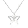 Cubic Zirconia Butterfly Pendant Necklace-Necklaces-Here Comes The Bling
