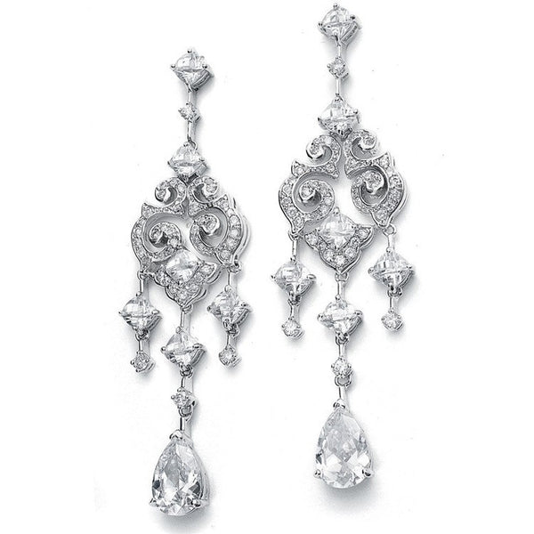 Cubic Zirconia Chandelier Earrings with Pear Dangles-Earrings-Here Comes The Bling™