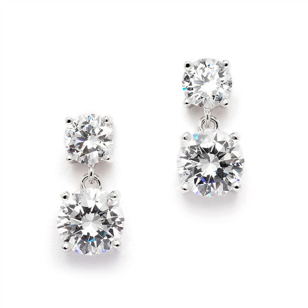 Cubic Zirconia Drop Earrings with 1/2 Ct. Studs and 2.0 Ct. Drops-Earrings-Here Comes The Bling™
