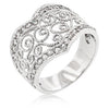 Cubic Zirconia Filigree Hearts Ring-Rings-Here Comes The Bling™