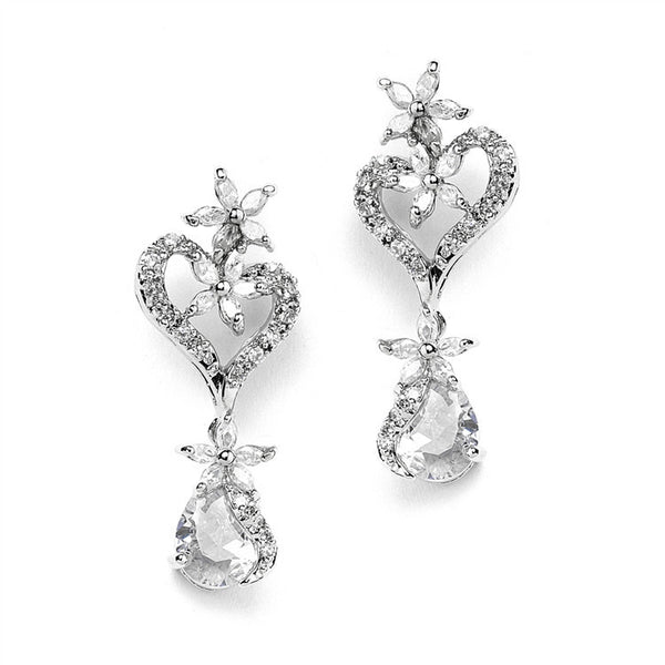 Cubic Zirconia Heart Shaped Wedding Earrings with Flowers and Pears-Earrings-Here Comes The Bling™