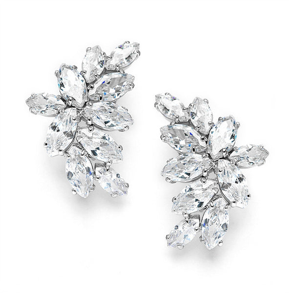 Cubic Zirconia Marquis Cluster Clip-On Earrings-Earrings-Here Comes The Bling™