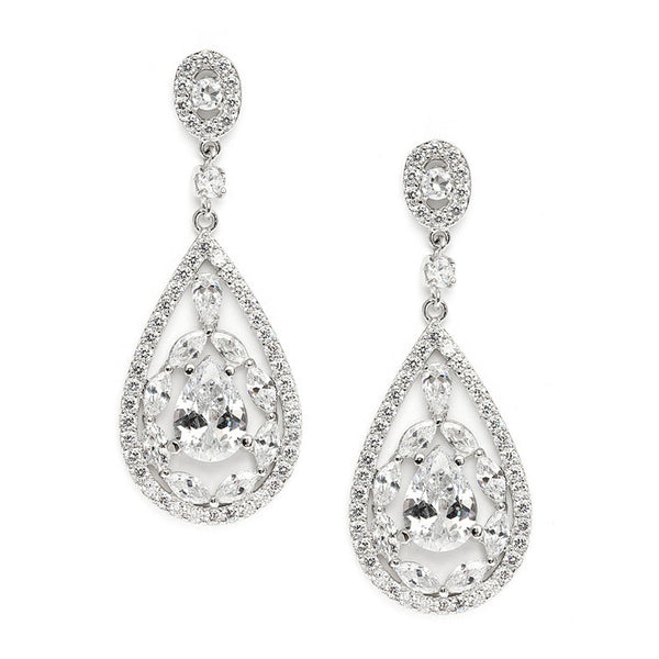 Cubic Zirconia Mosaic Teardrop Bridal, Prom or Wedding Earrings-Earrings-Here Comes The Bling™