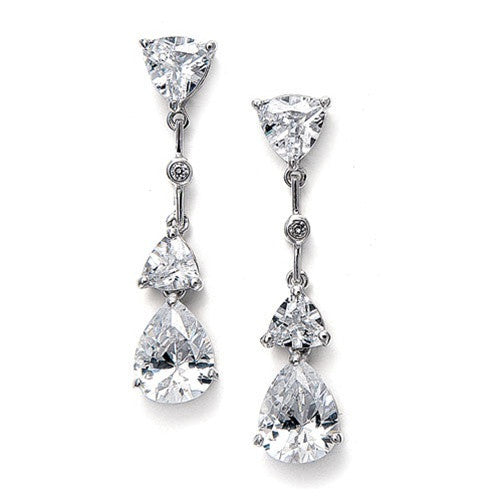 Cubic Zirconia Multi Shaped Dangle Earrings-Earrings-Here Comes The Bling™