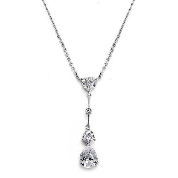 Cubic Zirconia Multi Shaped Dangle Necklace-Necklaces-Here Comes The Bling™