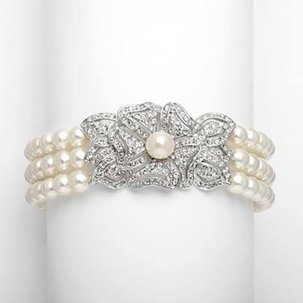 Cubic Zirconia & Pearl Vintage Bracelet-Bracelets-Here Comes The Bling™