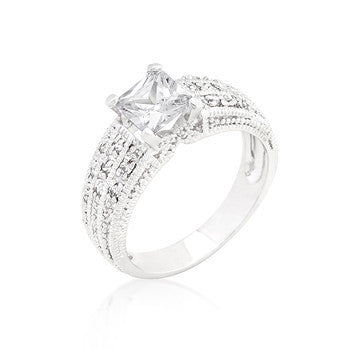 Cubic Zirconia Princess Cut Ring-Rings-Here Comes The Bling