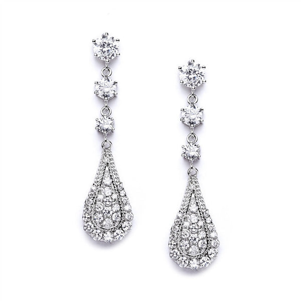 Cubic Zirconia Prom or Wedding Dangle Earrings-Earrings-Here Comes The Bling™