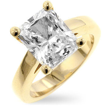 Cubic Zirconia Radiant Solitaire Ring-Rings-Here Comes The Bling™