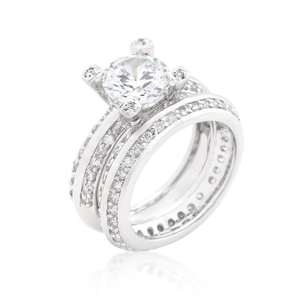 Cubic Zirconia Round Cut Pave Ring Set-Rings-Here Comes The Bling™