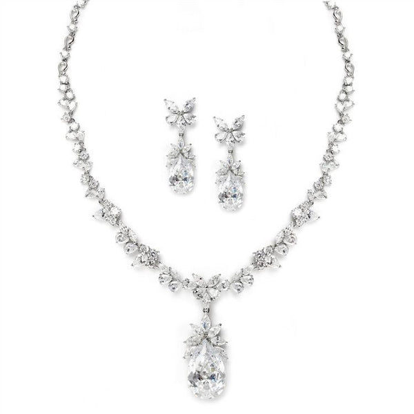 Cubic Zirconia Royal Wedding Teardrop Necklace Set-Sets-Here Comes The Bling™