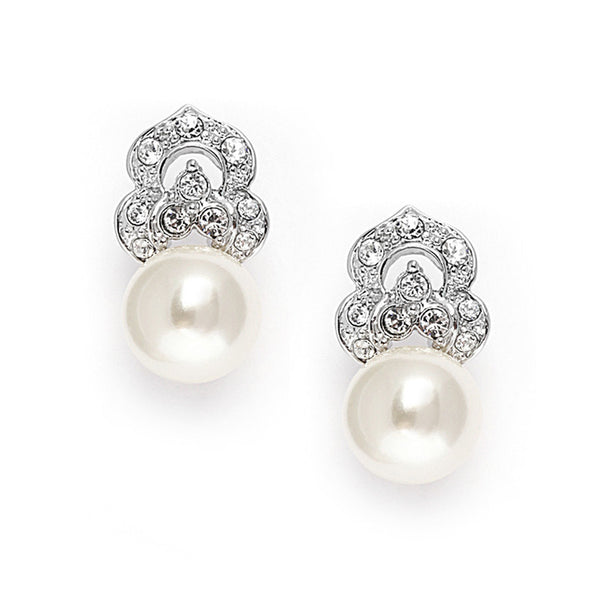 Cubic Zirconia & Soft Cream Pearl Vintage Wedding Earrings-Earrings-Here Comes The Bling™