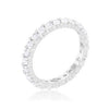 Cubic Zirconia Sterling Silver Eternity Band-Rings-Here Comes The Bling