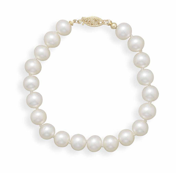 Cultured Freshwater 7.5mm Pearl Bracelet-Bracelets-Here Comes The Bling™