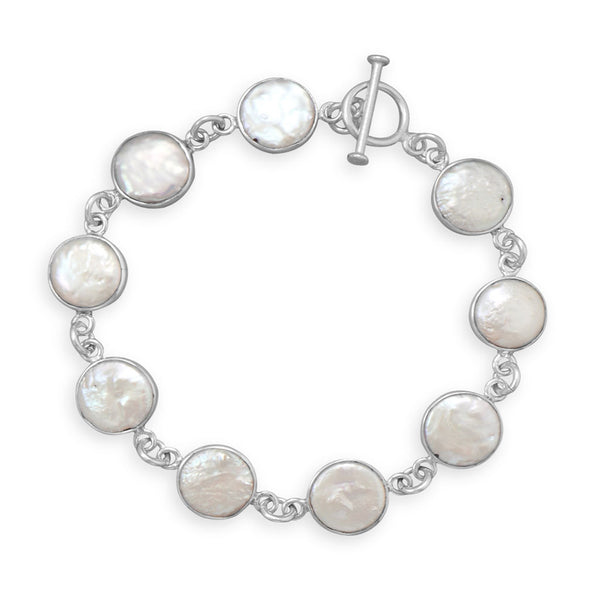 Cultured Freshwater Coin Pearl Bracelet-Bracelets-Here Comes The Bling™