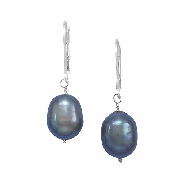 Cultured Freshwater Peacock Pearl Drop Earrings with 14K White Gold Lever Backs-Earrings-Here Comes The Bling™