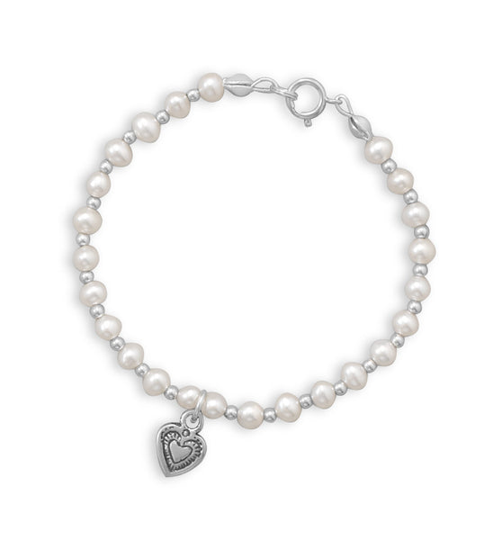 Cultured Freshwater Pearl and Silver Bead Bracelet with Oidized Heart-Girls-Jewelry-Here Comes The Bling™