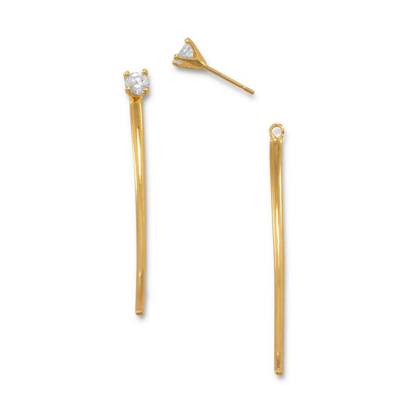 Curved Bar Front Back Earrings with CZ Posts-Earrings-Here Comes The Bling™