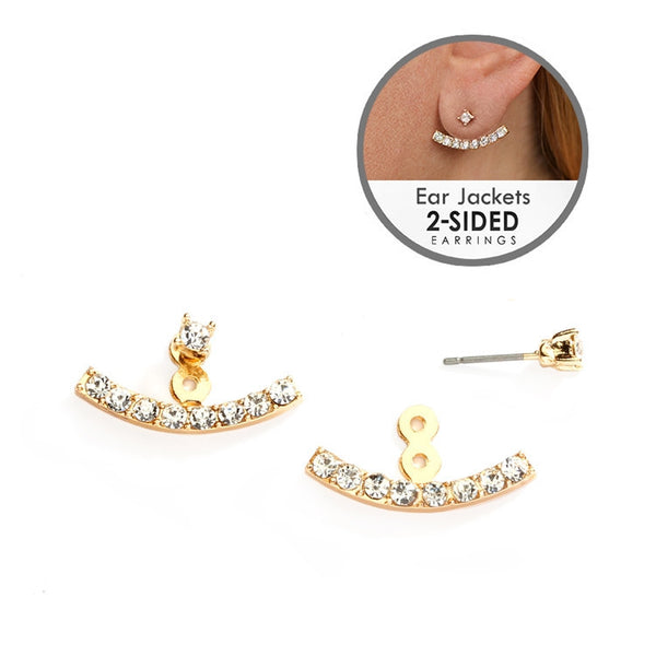 Curved Crystal Ear Jackets-Earrings-Here Comes The Bling™