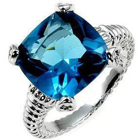 Cushion Cut Aqua Ring-Rings-Here Comes The Bling™