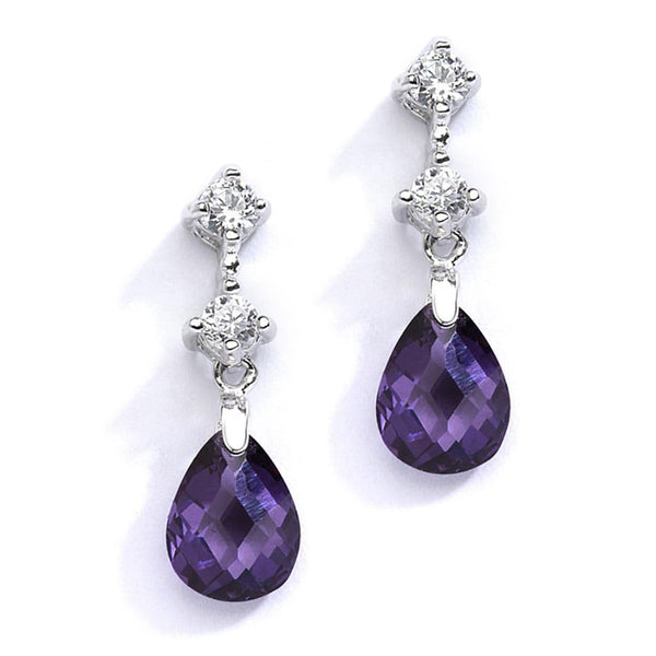 CZ and Amethyst Crystal Drop Earrings-Earrings-Here Comes The Bling™