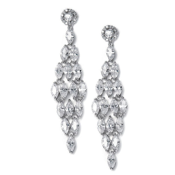 CZ Bridal Chandelier Earrings with Marquis-Earrings-Here Comes The Bling™