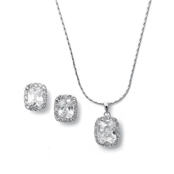 CZ Cushion Cut Necklace Set-Sets-Here Comes The Bling™