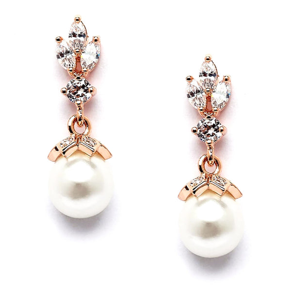 CZ Marquis Trio Pearl Drop Rose Gold Earrings-Earrings-Here Comes The Bling™