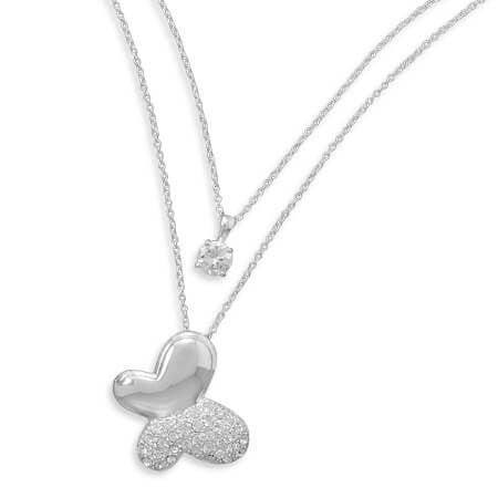 CZ Solitaire and Pave Crystal Butterfly Silver Plated Brass Necklace-Necklaces-Here Comes The Bling™