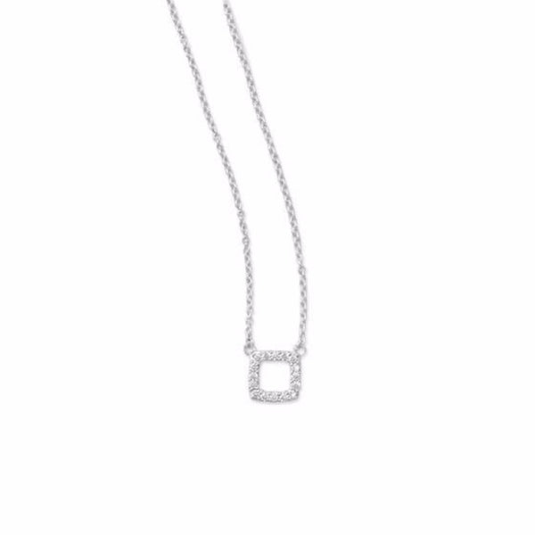CZ Square Rhoduim Plated Bar Necklace-Necklaces-Here Comes The Bling™